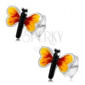 Srebrne 925 kolczyki, mały motylek, żółto-czerwone skrzydła, sztyfty obraz