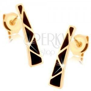 Kolczyki z żółtego złota 9K - rozszerzający się pasek, trójkąciki z czarnej emalii obraz