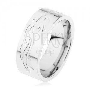 Stalowy pierścionek, srebrny kolor, grawerowany wzór tribala obraz