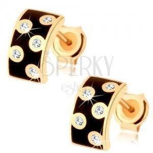Kolczyki w żółtym 9K złocie - szeroki łuk z emalią czarnego koloru, przejrzyste cyrkonie obraz