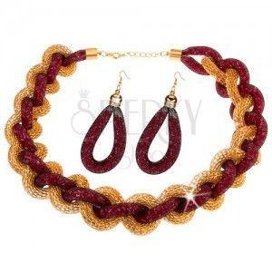 Zestaw - naszyjnik, kolczyki, spleciony łańcuszek, siatka, różowe koraliki obraz
