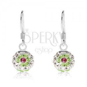 Białe kolczyki ze srebra 925, zielono-różowe kwiaty, kryształki Preciosa, 8 mm obraz
