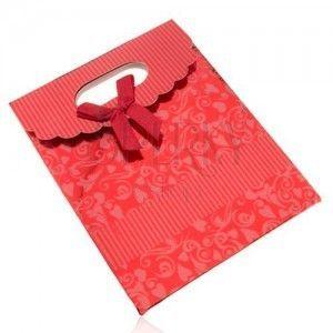 Lśniąca upominkowa torebka z papieru, ciemnoczerwona, kokarda, wycięcie obraz