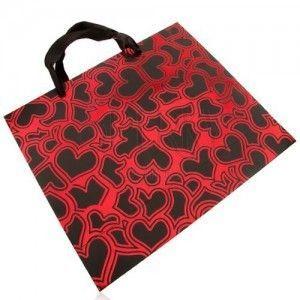 Papierowa torebka na upominek, ciemnoszary z czerwonym, lśniące zarysy serc obraz
