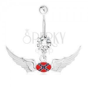 Stalowy piercing do brzucha, przejrzysta cyrkonia, motyw flagi konfederacji obraz