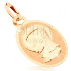 Wisiorek w żółtym 9K złocie - owalny medalik z Maryją Panną, lśniąco-matowy obraz