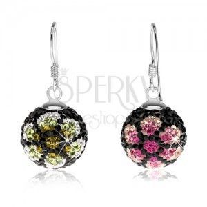 Kolczyki ze srebra 925, czarne kuleczki, kryształki, kolorowe kwiaty, 14 mm obraz