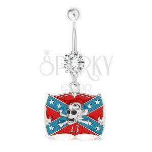Piercing do brzucha, stal 316L, cyrkonia, flaga Konfederacji, czaszka obraz