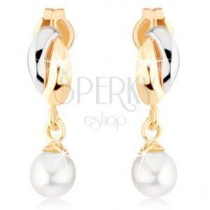 Złote kolczyki 375 - dwukolorowe łuki, biała okrągła perła obraz