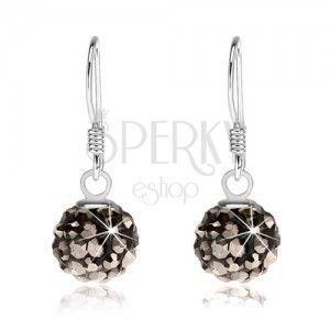 Kuleczkowe kolczyki ze srebra 925, czarna powierzchnia, stalowo szare kryształki, 8 mm obraz