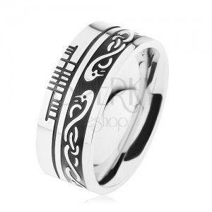 Szeroki pierścionek, stal 316L, czarny pas, celtycki wzór, obwódka srebrnego koloru obraz