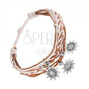 Pleciona bransoletka, sznurki, jasnobrązowa i biała, stalowe zawieszki - słoneczka obraz