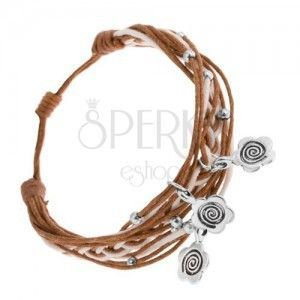 Pleciona bransoletka ze sznurków, regulowana długość, zawieszki - kwiaty, spirale obraz