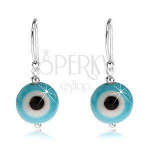 Kolczyki ze srebra 925, niebiesko-białe diabelskie oko, czarny środek, 10 mm obraz
