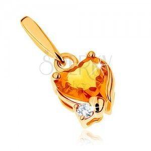 Lśniący wisiorek z żółtego złota 14K - serduszkowy cytryn żółtego koloru, przezroczysta cyrkonia obraz