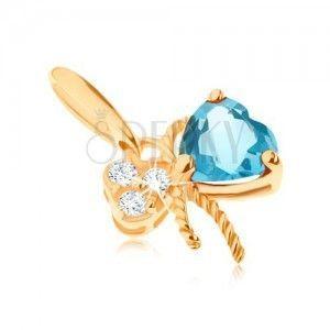 Złoty wisiorek 585 - kokardka ozdobiona niebieskim topazem i przezroczystymi cyrkoniami obraz