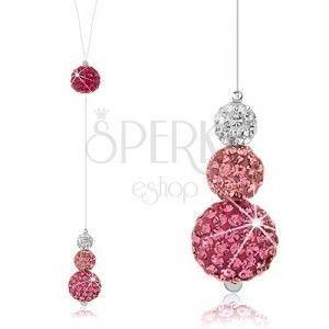 Błyszczący naszyjnik, srebro 925, kuleczki z kryształkami na stilonie, biały i różowy kolor obraz