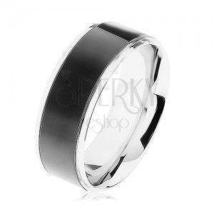 Stalowy pierścionek, czarny pas, krawędzie srebrnego koloru, wysoki połysk obraz