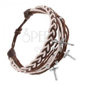 Pleciona bransoletka ze sznurków, brązowy i biały kolor, zawieszka - Jezus na krzyżu obraz