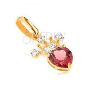 Wisiorek z żółtego złota 14K, cyrkoniowa korona, czerwony serduszkowy granat obraz