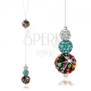 Srebrny naszyjnik 925, stilon, kolorowe kuleczki zdobione kryształkami Preciosa obraz