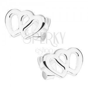 Kolczyki ze srebra 925, dwa połączone zarysy serc, sztyfty obraz