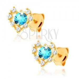 Kolczyki z żółtego złota 14K - przezroczysty cyrkoniowy zarys serca, niebieski topaz obraz