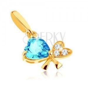 Wisiorek z żółtego złota 14K - niebieski topaz, kokardka z dwóch serc, przezroczyste cyrkonie obraz