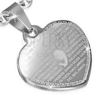 Stalowy wisiorek, płaskie serce srebrnego koloru, modlitwa obraz