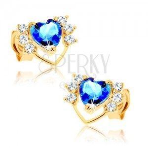 Kolczyki z żółtego złota 14K - cienki zarys serca z cyrkoniami, niebieski topaz obraz