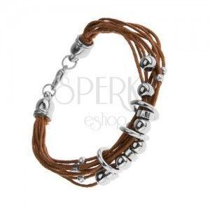 Sznurkowa bransoletka, jasno brązowy odcień, lśniące stalowe krążki i koraliki obraz