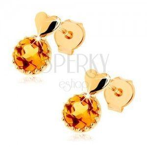 Kolczyki wkręty z żółtego złota 14K - małe wypukłe serce, okrągły żółty cytryn obraz