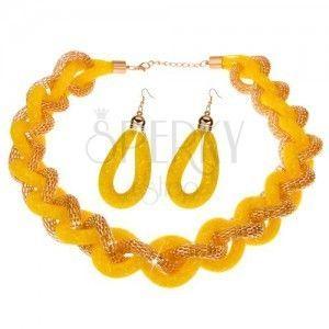 Zestaw naszyjnika i kolczyków, masywny pleciony łańcuszek, żółta siatka - koraliki obraz