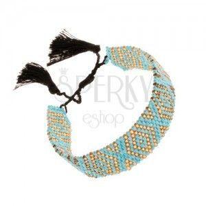 Regulowana bransoletka, lśniące koraliki, turkusowo-żółty kolor, czarne sznurki obraz