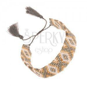 Koralikowa bransoletka, złoty, biały i zielono-szary kolor, indiański wzór obraz