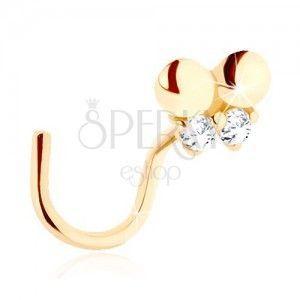 Złoty piercing do nosa 585 - zagięty, drobny motylek ozdobiony przejrzystymi cyrkoniami obraz