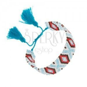 Koralikowa bransoletka, indiański wzór, jasnoniebieski, biały, czarny, czerwony kolor obraz