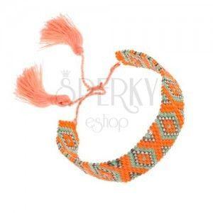 Bransoletka z koralików, pomarańczowy, zielony, szary kolor, wzór - romby obraz