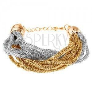 Bransoletka, plecione łańcuszki z miękkich włókien, złoty i srebrny kolor obraz