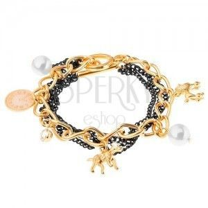 Bransoletka, łańcuszki - złoty i czarny kolor, zawieszki - psy, białe koraliki obraz
