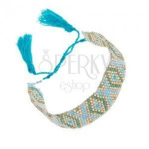 Koralikowa bransoletka z indiańskim motywem, niebieski, turkusowy i złoty kolor obraz