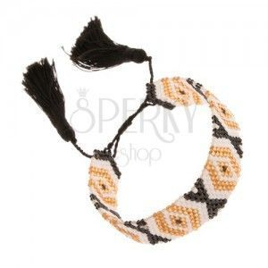 Regulowana bransoletka, koraliki, złoty, biały i czarny kolor, wzór - romby obraz