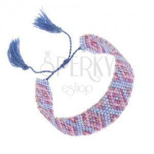 Bransoletka z indiańskim motywem, lśniące koraliki, niebieski i fioletowy kolor obraz
