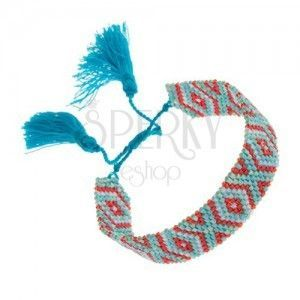 Bransoletka z koralików turkusowego i czerwonego koloru, indiański motyw, sznurki obraz