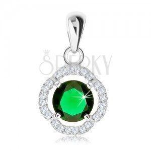 Wisiorek ze srebra 925, okrągła zielona cyrkonia, pofalowany lśniący zarys obraz