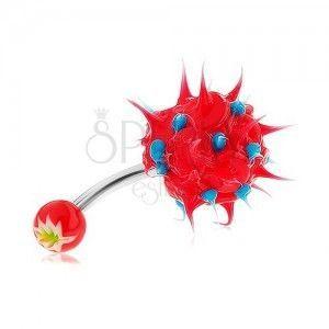 Kolczyk do pępka ze stali 316L, czerwono-niebieski jeżyk z silikonu obraz