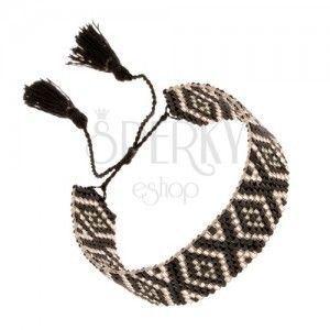 Regulowana bransoletka z koralików, wzór rombów, czarny i srebrny kolor obraz