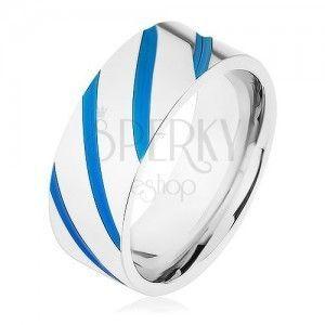 Stalowa obrączka srebrnego koloru, skośne pasy, niebieska emalia obraz