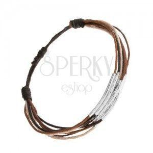 Bransoletka ze sznurków czarnego, brązowego, cynamonowego i beżowego koloru, paseczki ze stali obraz