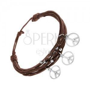 Bransoletka ze sznurków, brązowy kolor, srebrne kuleczki i zawieszki - znak pokoju obraz